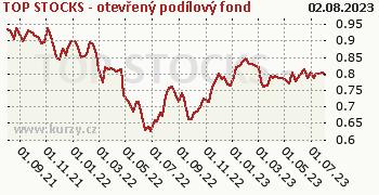 TOP STOCKS - otevřený podílový fond graf výkonnosti, formát 350 x 180 (px) PNG